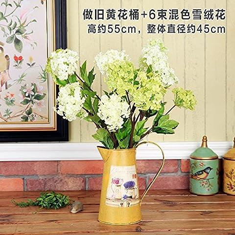 American idillio rurale di orticoltura decorate fiori home desktop con fiore Secchi Secchio fiore di emulazione Kit 9