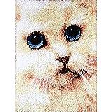 4 Modell Katze Knüpfteppich für Kinder und Erwachsene zum Selber Knüpfen Teppich Latch Hook Kit child Rug Cat117 53 by 38 cm