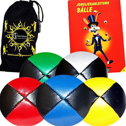 Jonglierbälle 5er Set - Profi Beanbag Bälle aus Glattleder (Leather) + Mr Babache Bälle-Booklet (in Deutsch) + Reisetasche. Komplett-Set Ideal Für Anfänger die und Auch Für Profis. (Schwarz/Blau)