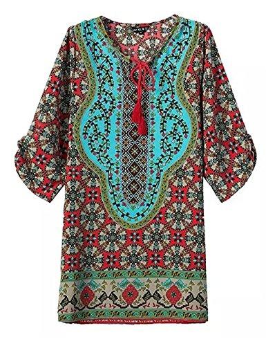 JOTHIN Damen Retro Drucken V-ausschnitt Langarm Kurz Kleider für Sommer und Frühherbst--Form Shirt S M L Retro Druck