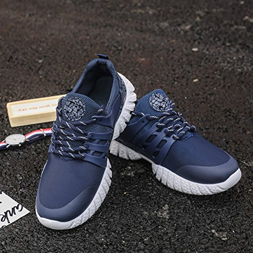 GOMNEAR Laufschuhe Herren Mesh Leichtes Lässiges Lace Up Athletic Walking Sport Trainer Blau