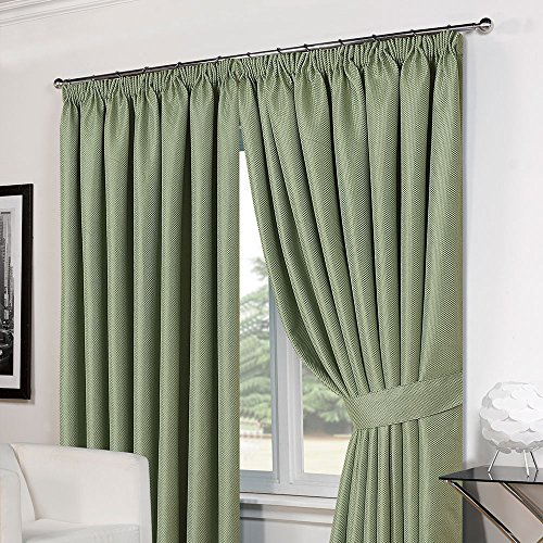 Dreamscene Luxury Basket Weave Blackout Thermal Lined Tape Top Curtains with Tiebacks – Soft Green, 66 x 72-Inch