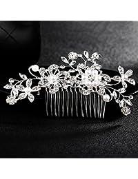 OneMoreT - Horquillas para el pelo con diseño de flor y perlas de diamante para novia