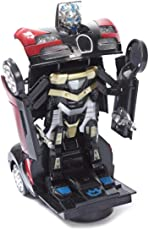 Jiada Transformer Sports Car Toy with Convertible Robot with Lights, Music & Bump & Go Function