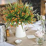 MIHOUNION 4 Stück Künstliche Sträucher Kunststoff Kunstblumen Orange Gypsophila Künstlich Plastikblumen Kunstpflanzen Arrangement Home Garten Büro Veranda Deko - 5