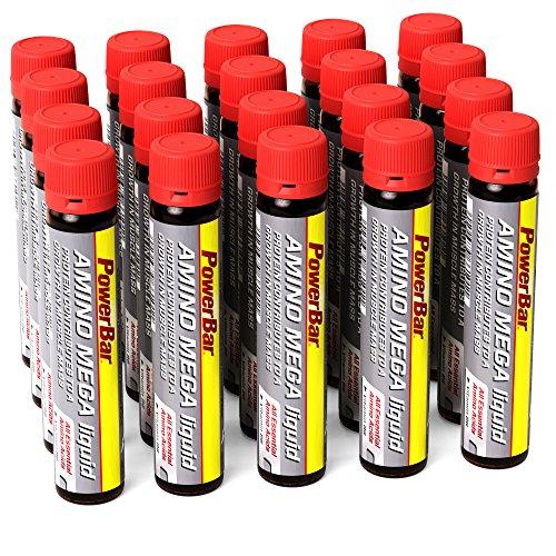 PowerBar Amino Mega Liquid – Aminosäuren Komplex – Alle essentiellen Aminosäuren in einer Ampulle – Mit Whey Hydrolysat – 20 Ampullen (Flüssig Power Bar)