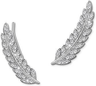 Milacolato 2 paires Boucle d Oreille Femme Argent 925 Boucles Doreilles sur Chenilles 7 CZ Feuille Diamant Boucles Doreilles Grimpeur Boucle Doreille