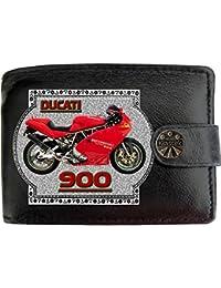 7ef497b55683e Ducati 900 Bild auf KLASSEK Marken RFID Herren Geldbörse Portemonnaie  Echtes Leder Motorrad Bike Zubehör Geschenk mit Metall Box…