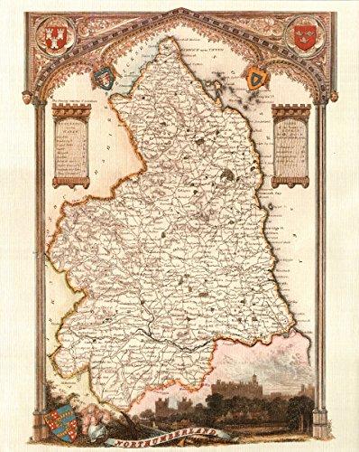 Northumberland-Antique Map-Karte unterstützt-40,6x 50,8cm - County England-antik-karte