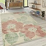 Paco Home Designer Teppich Wohnzimmer Kurzflor Modern Florales Muster Pastellfarben Pink, Grösse:120x170 cm