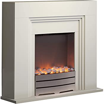 Warmlite WL45011 York Fireplace Suite, Realistic LED Flame Effect, Ivory
