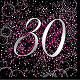 Unique Papierservietten mit Foliendruck für den 30. Geburtstag,rosa,16er pack