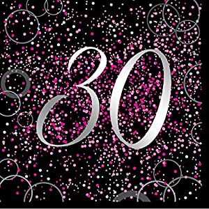 Unique Party- Paquete de 16 servilletas de papel de 30 cumpleaños, Color rosa metálico brillante (57470)