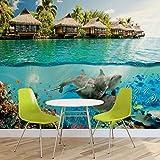 Insel Paradies Ozean Delfine Fische- Forwall - Fototapete - Tapete - Fotomural - Mural Wandbild - (3193WM) - XXXL - 416cm x 254cm - VLIES (EasyInstall) - 4 Pieces