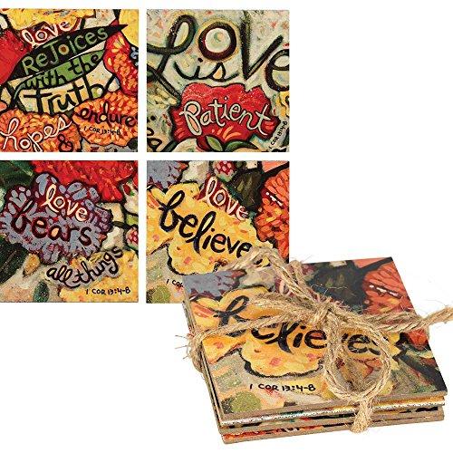 Dicksons Love Never Nicht 12,7x 12,7cm Bunte Holz Untersetzer Set (Muttertag-ideen Kirche Die Für)