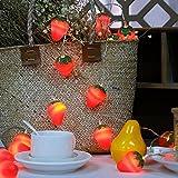 3M 20LED Erdbeeren Lichterkette Batteriebetriebene Weihnachtliche mit Lichterkette Warmweiß - Transparente Stern für Party Deko, Garten Deko, Weihnachten, Hotel, Fest Deko,Hochzeit, Geburtstag …