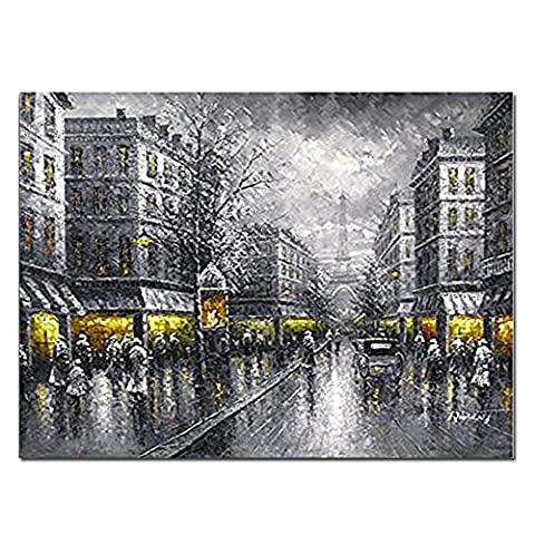 Wieco Art - Paris Street View Modern Giclee Contemporary Artwork Decorative Landscape Oil Paintings reproduction on Stretched and Framed Canvas Wall Art Ready to Hang for Living Room Bedroom Home Decorations LA1039-6080