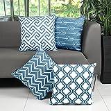 Willow & Smith 'Smith & Kissenbezug, Bettwäsche, Baumwolle, 4-fach, quadratisch, für Kissen, Sofa-Set geometrisch blaugrün
