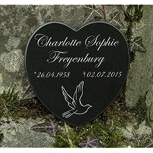 Gedenkstein Grabplatte Gravur Herz Taube Marmor