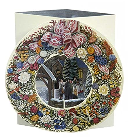 esperluette Studio Carte de vœux de Noël 3D pop up–Caroling–Couronne carte