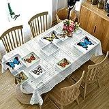 Wjsw Rechteckigem Polyestergewebe Tischdecke,3D Schmetterling Muster Antifouling Wasserdicht Tischdecke,(Mehrere Größen) Geeignet Home Hochzeit Restaurant Party Tischdecke,A,134 * 183