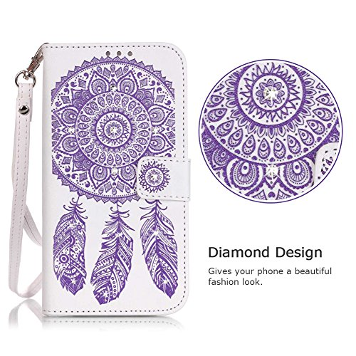 """iPhone 6s Wallet Case , VMAE Premium PU Leather Folio Flip Bling Cover , Wrist Strap Crystal Wind Bell Kickstand Wallet Case With Card Cash Holder For iPhone 6 , iPhone 6s 4.7 """" - White&Purple White&Purple"""