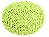 100% Cotton Two-Tone Round Handmade Double Knitted Braided Pouffe, Green / Cream