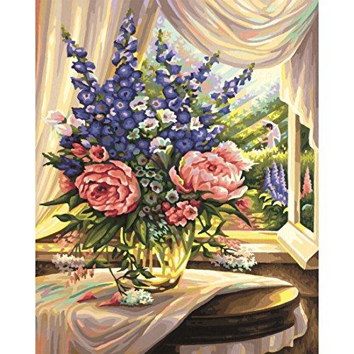 Blumen am Fenster Malen nach Zahlen Schipper 40 x 50 cm (Blume Spiel)