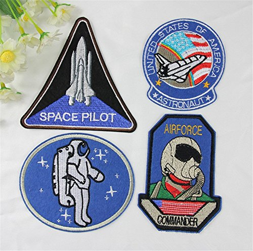 Air Force Applique (1 Set 4 Stück Space Pilot Air Force Nähen Eisen auf Patch Badge Beutel, bestickt hat Jeans-Applikation Motiv)