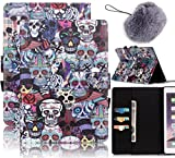 ": Vandot Samsung Galaxy Tab S2 9.7"" Case SM-T810 /T815 Cover,Magnetic PU Leather Flip Stand Folding Case Smart Auto Sleep /Wake Multi-Function Slim Fit Shock-Absorption Pratical Protective Wallet Case Printing Pattern+Pompom Furry Ball Pendant-Black Skulls"