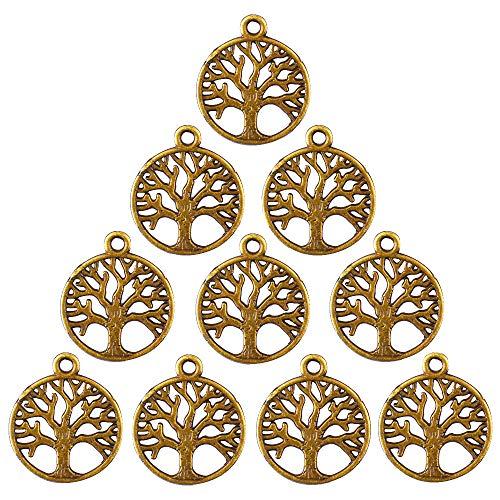 Gudotra 100 pz pendentifs di albero della vita bronzo vintage portachiavi ciondoli per creazione gioielli fai da te collane bracciali per matrimonio bomboniere