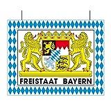 Everflag Motiv aus Karton Freistaat Bayern mit Rautenrahmen - Schild