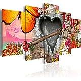 murando Cuadro en Lienzo 200x100 cm - 3 tres colores a elegir - 5 Partes - Formato Grande - Impresion en calidad fotografica - Cuadro en lienzo tejido-no tejido - flores cardiaco mariposa violeta f-A-0071-b-n 200x100 cm
