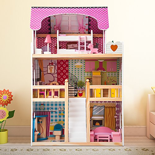 Large Wooden 3 Storey Mansion Doll House Set for Kids Prentend Play with Funiture and Suitcase