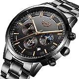 Luxus Fashion Herren Uhren Schwarz Edelstahl Band Sport Chronograph Datum Kalender Wasserdicht Multifunktions Armbanduhr Analog Quarz