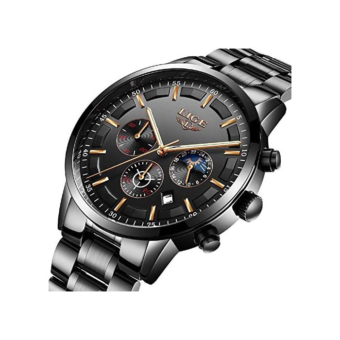 Fashion Herren Uhren Schwarz Edelstahl Band Sport Chronograph Datum Kalender Wasserdicht Multifunktions Armbanduhr…