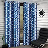 Super India Abstract 2 Piece Eyelet Polyester Window Curtain Set - 5ft, Blue
