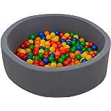 LittleTom Baby Bällebad 350 Bällchenbad Bälle 90x30 cm Ball Pool Anthrazit
