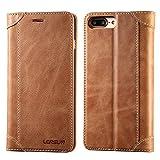 Etui Housse iPhone 8 plus, Coque iPhone 7 plus,Lensun Pochette Portefeuille Rabat,Cuir Authentique avec Horizontale Rangements de Cartes et Fermeture Aimantée  - Brun (7P-DX-BN)
