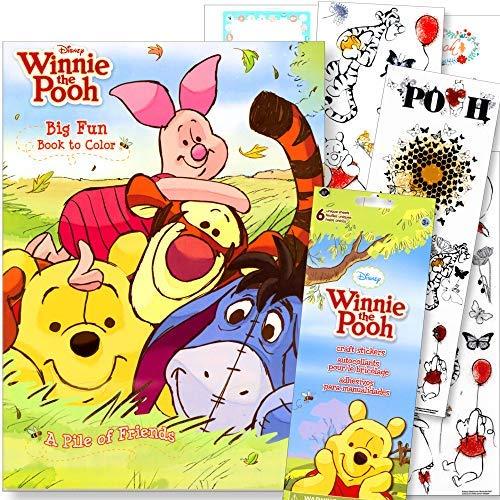 Disney Malbücher für Kinder mit Aufklebern - Mickey Mouse, Minnie Mouse, Moana, schwarzer Panther und mehr Winnie The Pooh