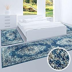 Bettumrandung, Teppich-Läufer Flachflor mit Klassischen Design, Ornamenten-Muster in Blau/Grau für Schlafzimmer, 3-teilig, Läufer-Größen: 2x 80x150 cm, 1x 80x300 cm