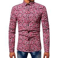 WWricotta Camisetas Negocio Hombre Manga Larga Estampado de Pequeño Floral Streetwear Casual Camisas Formales