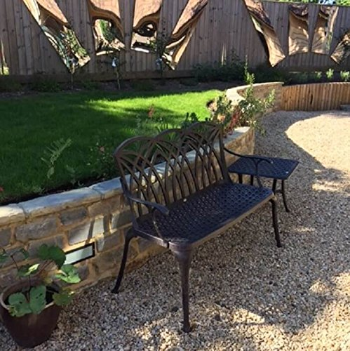 Lazy Susan – SANDRA Quadratischer Kaffeetisch mit 1 APRIL Gartenbank – Gartenmöbel Set aus Metall, Antik Bronze - 2