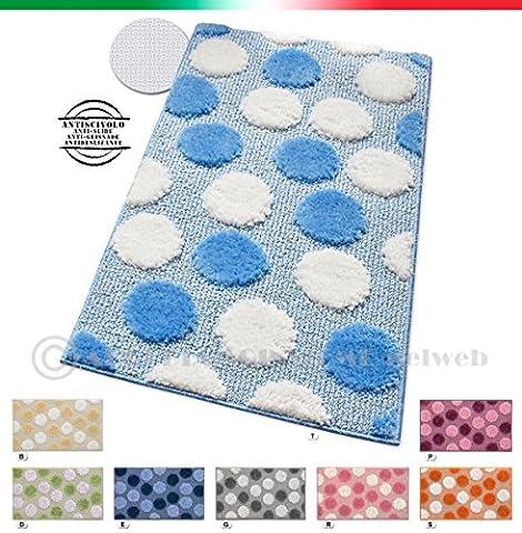 Tapis de bain ou de descente de douche/de lit antidérapant moderne Motif Shaggy Différentes tailles IOS bleu