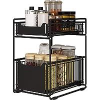 Tiroir de rangement à 2 étages pour cuisine et salle de bain, panier de rangement coulissant en métal, pour bureau et…