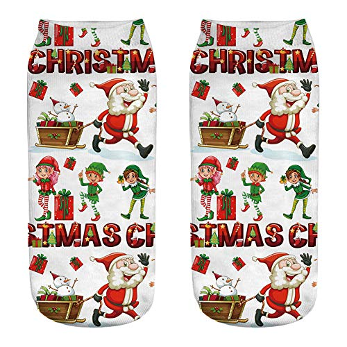 (AIUIN Personalisierte Strümpfe Weihnachten Santa Schneemann Rentier Weihnachten Strumpf 3Pairs Eine Größe (Style 2))