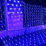 HJ LED Lichternetz 204er, ca. 2 x 2 m Weihnachtsbeleuchtung Lichterketten , für innen/außen, Blau