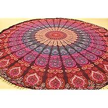 raajsee- indio Mandala redondo Roundie Morado Ombre playa manta tapiz Hippy Boho Gypsy algodón mantel toalla de playa de esterilla de yoga yoga y meditación # rnd08