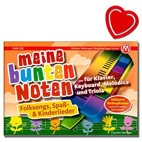 Meine bunten Noten - Songbook für Klavier, Keyboard, Melodica und Triola - Beliebte Kinderlieder mit bunter herzförmiger Notenklammer