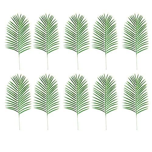 10 Stücke Künstliche Tropische Palmblätter Nachahmung Pflanze Blätter Dekoration für Hawaiian Luau Party Jungle Beach Thema Party Home Restaurant Dekorative Zubehör 49,5x23 cm grün